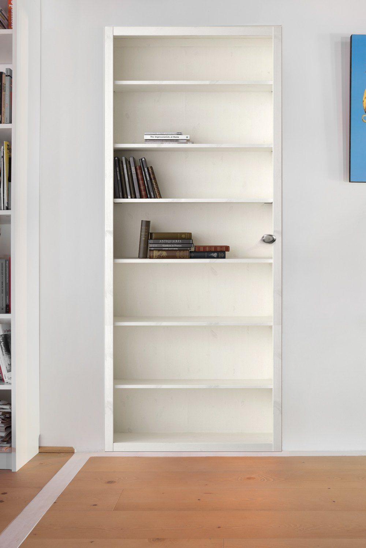 Illusion d'optique d'une porte invisible en bibliothèque