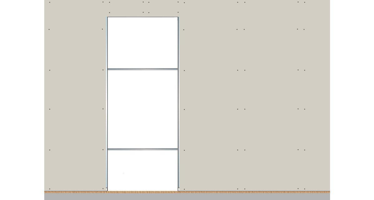 Plaques de plâtre fixées au châssis pour porte coulissante