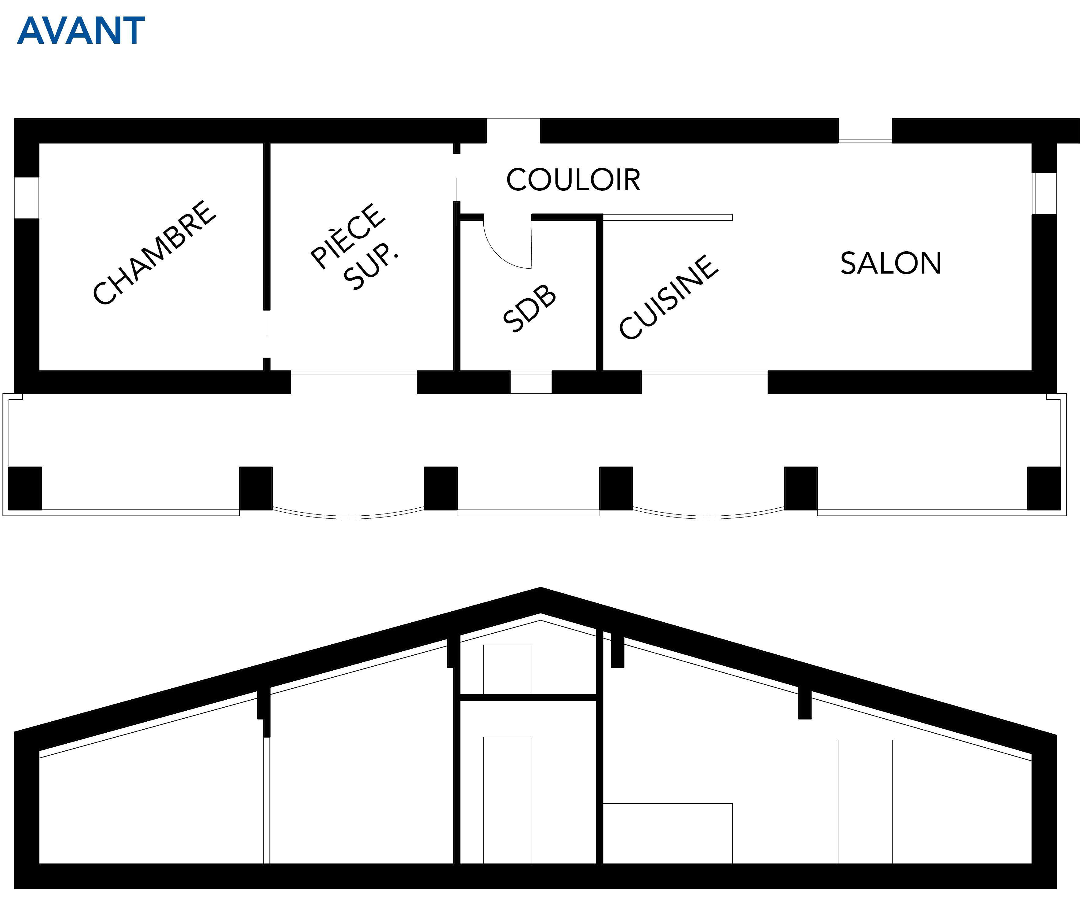 Schéma de l'appartement avant le projet